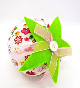 Dritz Strawberry Pincushion,white Floral,green Leaf,10cm l X 7.6cm d