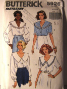 Butterick 5926 Vintage Sewing Pattern Feminine Blouse with Collar Variation Size 12, 14, 16