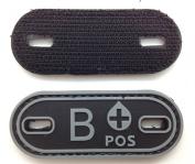 Matrix PVC Oval Blood Type Patch - B POS / Black