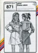Stretch & Sew Pattern 871 ~ Girls' Denim Jeans Skirt ~ Hip 22-32