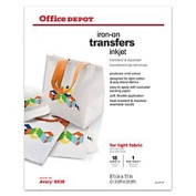 Office Depot(R) Brand Light Fabric Inkjet Iron-On Transfers, 22cm . X 28cm ., Pack Of 18