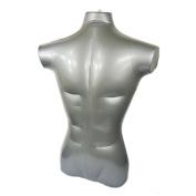 NAVA 1Pcs Silver Pvc Plastic Male Half Body Inflatable Mannequin Dummy Torso Model