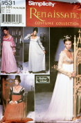 SIMPLICITY PATTERN 9531 RENAISSANCE COSTUME COLLECTION SIZE RR 14-20