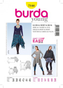 BURDA STYLE 7144 DRESS & SKIRT WITH ASYMETRICAL HEMS, T SHIRT, COWL NECK CAPE / PONCHO FOR STRETCH KNITS SEWING PATTERN MISSES' / PLUS SIZES