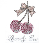 Rhinestone Iron on Transfer Hot Fix Crystal Cherry Pink Ribbon 3 Sheets 5.1* 16cm