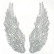 Rhinestone Iron on Transfer Hot Fix Angel Wings Silver Decor 3 Sheets 5.1* 14cm