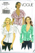 Easy Vogue V8194 Size 6-8-10 Semi-fit Top with Flounce Collar, Peplum Waist, and Sleeve Variations