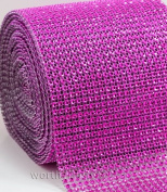 Hot Pink/Fushia Diamond Crystal Sparkling Effect Mesh Ribbon Embellishment - Add that Elegant Touch At Your Wedding or Special Event - 5 Ft