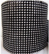 Black Rhinestone Embellishment With Silver Accents- Diamond Crystal Sparkling Effect Mesh Ribbon - Add that Elegant Touch At Your Wedding or Special Event - 5 Ft