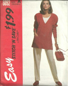 Misses Tunic, Tank Top And Pants - For Knits Only. Size:XS-S-M-L. McCall's Easy Stitch'N Save Sewing Pattern 6092