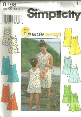Childs And girls Dress (Simplicity Sewing pattern 8198, Size: 7,8,10,12)