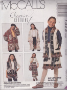 Girls Afghan Jacket, Vest, Wrap Skirt In Two Lengths And Bag McCall's Creative Clothing Sewing Pattern 7323 (Size