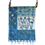 Yair Emanuel Flower Design Blue Patched Applique Embroidered Bag