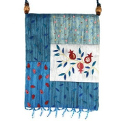 Yair Emanuel Pomegranate Design Blue Patched Applique Embroidered Bag