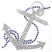 2013rhinestone Iron on Transfer Hot Fix Motif Crystal Fashion Design Anchor Blue 3 Sheets 3.3*11cm