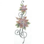 Rhinestone Iron on Transfer Hot Fix Flower Vine Colour Mix Decor Design 3 Sheets 3.5*24cm