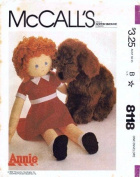 McCall's 8118 Vintage Sewing Pattern Annie Doll Dog Sandy