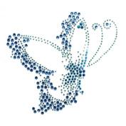 Rhinestone Iron on Transfer Hot Fix Blue Butterfly 3 Sheets 5.6*14cm