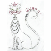 Rhinestone Iron on Transfer Hot Fix Motif Fashion Queen Cat Deco Design 3 Sheets 5.9*21cm