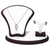 Necklace and Earrings Jewellery Display, White Leatherette