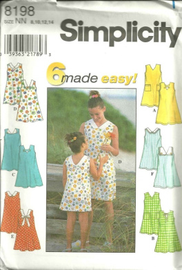 Childs And Girls Dress (Simplicity Sewing Pattern 8198, Size: 8,10,12,14)