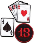 Lot of 3 Poker Ace of Spades Playing Cards Lucky 13 Applique Iron-on Patches L-6 Cute Gift to Your Cloth.