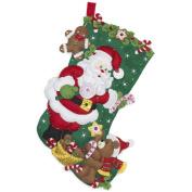 BUCILLA Santa and Teddy Bear Felt Applique Stocking Kit, 46cm