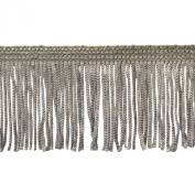 Chainette Fringe 10-Yard Polyester Fringe Rolls for Arts and Crafts, 5.1cm Long, Grey