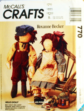McCall's 6039 Crafts Sewing Pattern Rag Dolls