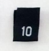Size 10 (Ten) Black Woven Clothing Size Labels