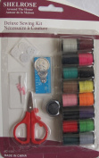 Shelrose DELUXE SEWING KIT For HOME or TRAVEL w SCISSORS, NEEDLES, Various THREADS, Tape Measure & MORE!