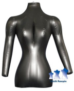 Inflatable Mannequin, Female Torso with Arms, Black