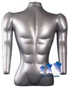 Inflatable Mannequin, Male Torso with Arms Silver