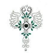 Rhinestone Iron on Transfer Hot Fix Motif Crystal Fashion Design Tattoos Green 3 Sheets 3.3*12cm