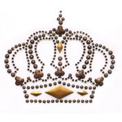 Rhinestone Iron on Transfer Hot Fix Motif Fashion Brown Crown Design 3 Sheets 3.9*8.1cm