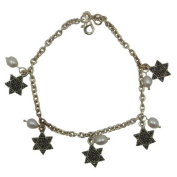 Jewish Jewellery, Woman Bracelet, Silver Coloured. Pearl and Star of David Design. 19cm Long. Great Gift for