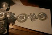 Sliver Glitter Flower Trim 10 Yards