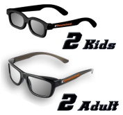 ED Family 4 Pack (2 Adult and 2 Kids) - LG AG-F310DP + AG-F400DP Cinema 3D Dual Play Compatible Gaming Glasses