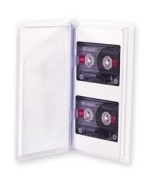 Audio Cassette Tape Storage Album - Clear- Up to 2 Cassettes - With Clear Plastic Sleeves for Labels