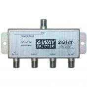 PcConnectTM F-Pin (Coax) Splitter, 4 way, 2 GHz 90dB, 1-DC Passing