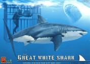 Great White Shark with Cage and Diver 1/18 Pegasus