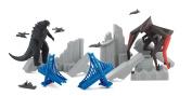Godzilla Movie Destruction City with Godzilla and MUTO Figures, plus 3 Destructible Buildings and 5 Military Vehicles