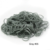 Grey Colour 600 PCS DIY Refills Rubber Bands with Free 25 PCS S or C Clips Fits Any Rainbow Bracelet Loom