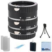 Auto Focus Macro Extension Tube Set for Canon 5D Mark II, Mark III, 6D, 70D, 7D, 60D, Rebel T2i, T3i, T4i, T5i and SL1 Camera + Complete Starter Kit