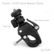 Grifiti Nootle Quick Release Pipe Clamp with 1/4 20 Threaded Head for Cameras and Nootle Ipad Mounts Works for Tripods, Music Stands, Microphone Stands, Any Pipe or Bar That Is up to 3.8cm in Diameter Also Motorcycles, Bikes, and More