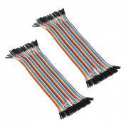 2x 40pcs Female to Female 2.54mm 0.1 in Jumper Wires F/F