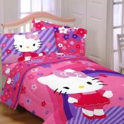 Hello Kitty Raining Flowers 4pc Twin Bedding Collection Comforter & Sheet Set