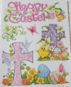 Happy Easter Lillies & Crosses Glitter Vinyl Window Clings