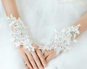 Fingerless Rhinestone & Sequins Bridal Lace Gloves