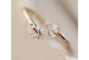 HOT Women 18K Rose gold GP Crystal Engagement Wedding Band Ring